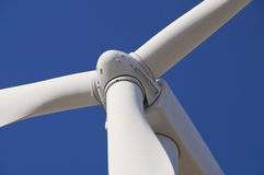 Wind turbine blade at blue sky. Stock Photo