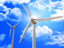 Wind turbine and blue sky Royalty Free Stock Image