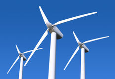 Wind turbine on blue sky. Three white wind turbine generating electricity on blue sky Stock Photos