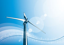 Wind turbine & blue sky background Stock Photo
