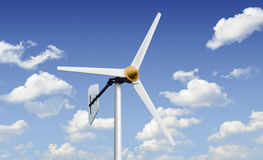 Wind turbine on blue sky Royalty Free Stock Image