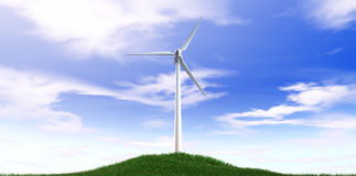 Wind Turbine Blue Sky And Grass Hill Royalty Free Stock Photo