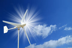 Wind Turbine and  Blue Sky with Light Beam Royalty Free Stock Photography