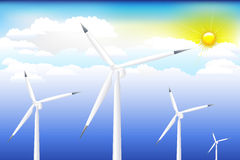 Wind Turbine On Blue Sky. Vector Royalty Free Stock Photography