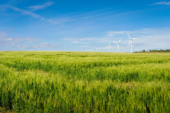 Wind turbine on Bornholm island. Wind turbine on ecological Bornholm island, Denmark, Europe - clean energy background royalty free stock photos