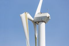 Wind turbine with broken wings after a heavy storm in the Netherlands. Wind turbine with broken wings after a heavy spring storm in the Netherlands Royalty Free Stock Photography