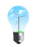 Wind turbine in bulb. Blue sky and clouds, drawing royalty free illustration