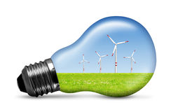 Wind turbine in bulb. Isolated on white Royalty Free Stock Images