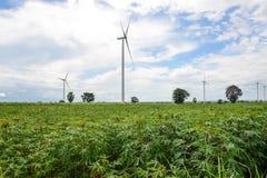 Wind turbine in cassava plantation Stock Photo