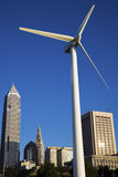 Wind turbine in Cleveland. Wind turbine in downtown Cleveland Royalty Free Stock Photo