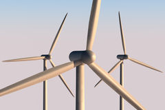 Wind turbine close up. A close up of 3 wind turbines with DoF. You can see the texture of the material stock illustration