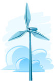 Wind turbine with clouds Royalty Free Stock Photos