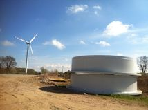 Wind turbine construction stock image