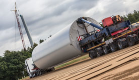Wind turbine construction element on a truck Stock Image