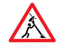 Wind turbine construction sign Royalty Free Stock Images
