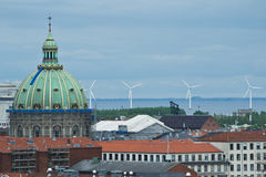 Wind turbine at Copenhagen. Wind turbines produce electricity in copenhagen Royalty Free Stock Images