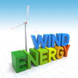 Wind Turbine. And 3D Wind Energy text. Digitally Generated Image Royalty Free Stock Photos