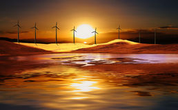 Wind turbine in the desert Royalty Free Stock Photo