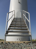 Wind turbine door. Detail of wind turbine door in rural field Stock Image