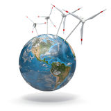 Wind turbine on Earth. 3d Stock Photography