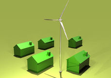 Wind turbine and eco-homes. Ecological homes energy regenerated with wind turbines Royalty Free Stock Images
