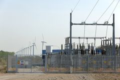 Wind turbine and electrical transformer Stock Photography
