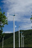Wind turbine. Energy blue sky Royalty Free Stock Images