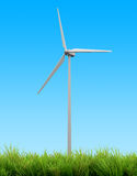 Wind turbine energy and blue sky summer Royalty Free Stock Image