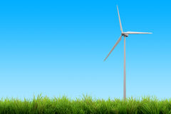 Wind turbine energy and blue sky summer Royalty Free Stock Photo