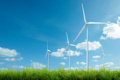 Wind turbine energy and blue sky summer Royalty Free Stock Photography