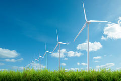 Wind turbine energy and blue sky summer Stock Photo