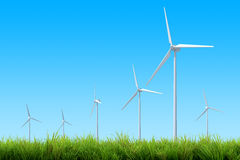 Wind turbine energy and blue sky summer Stock Image
