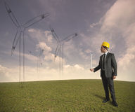 Wind turbine energy project Stock Photo