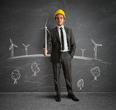 Wind turbine energy project Stock Images