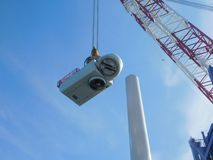 Wind turbine erection at sea. Wind Turbine erection offshore sea ocean wind farm royalty free stock photos