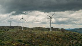 A wind turbine factory on top of a hill in Northeastern Portugal, renewable energy concept.  royalty free stock photos