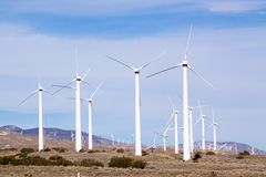 Wind turbine farm Stock Images