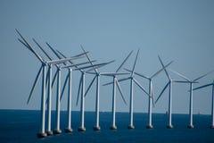 Wind turbine farm in Baltic Sea between Germany and Copenhagen,. Denmark stock images