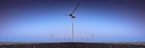 Wind turbine farm with blue sky Stock Image