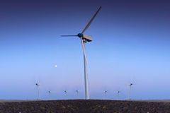 Wind turbine farm with blue sky Royalty Free Stock Photography