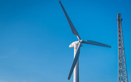 Wind turbine farm on blue sky Stock Photography