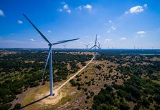 Wind Turbine Farm in Central Texas producing Clean renewable energy from sustainable wind energy stock photography