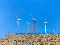 Wind turbine farm in the desert of Plam springs, California. Royalty Free Stock Image