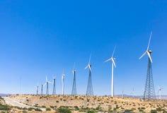 Wind turbine farm in the desert of Plam springs, California. Stock Photos
