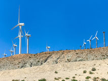 Wind turbine farm in the desert of Plam springs, California. Stock Photography