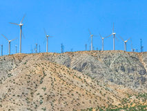 Wind turbine farm in the desert of Plam springs, California. Stock Images