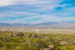 Wind turbine farm in the desert of Plam springs, California. Royalty Free Stock Photography