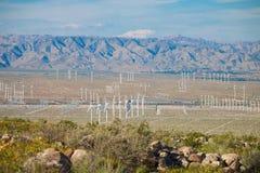 Wind turbine farm in the desert of Plam springs, California. Royalty Free Stock Photos