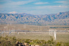 Wind turbine farm in the desert of Plam springs, California. Royalty Free Stock Photo