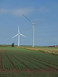 Wind turbine farm in the fens. Wind turbine in one of the many wind farms that are being built if the flat, windy fens of East Anglia Royalty Free Stock Photo